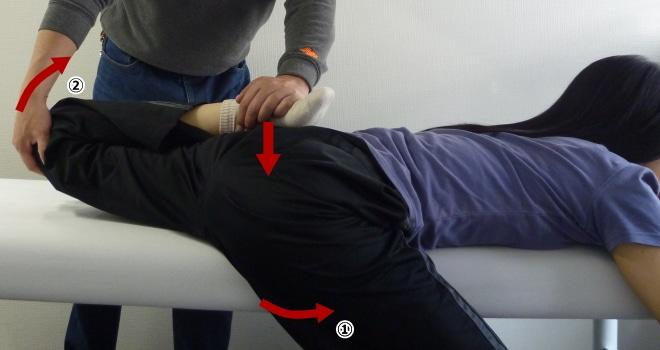 大腿直筋のパートナーストレッチ